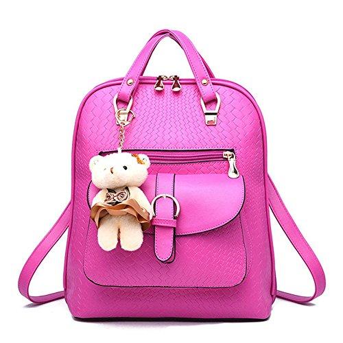 ANNE Damen Rucksackhandtaschen Mädchen Scool Tasche -Rose-carmine