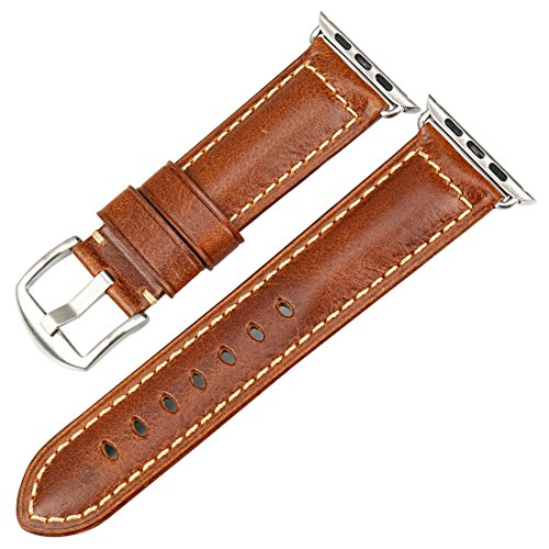 MAIKES Oil Wax Leather Strap Replacement for Apple Watch Band 44mm 40mm 42mm 38mm Series 4 3 2 1 iWatch Watchband Compatible with Apple Watch(42mm, Light Brown+Silver -