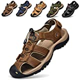 todaysunny Men Sandals Closed Toe Walking Fastening Hiking Sport Shoes Leather Sandals Brown