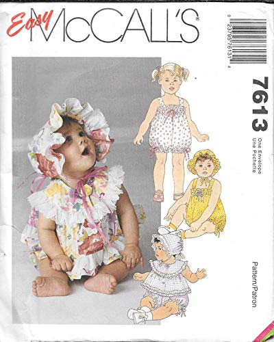 (McCall's Sewing Pattern 7613 Infant's Romper with Snap Crotch, Top and Bonnet)