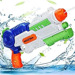 Ucradle Pistola de Agua, 1200ml Pistola de Chorro de Agua para Niños Adultos, Potente Squirt Gun con un Alcance Largo 8-10m, Verano Juguetes de Agua Juego, Playa, Piscina, Jardin