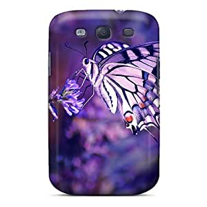 S3 Scratch-proof Protection Case Cover For Galaxy/ Hot Purple Butterfly Phone Case