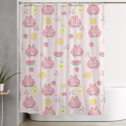 Kawaii Rabbit Fruit Illustration Wallpaper 60 X 72 Inch Bath Curtain Waterproof Polyester Fabric Bathroom Shower Curtain Decor Set with -