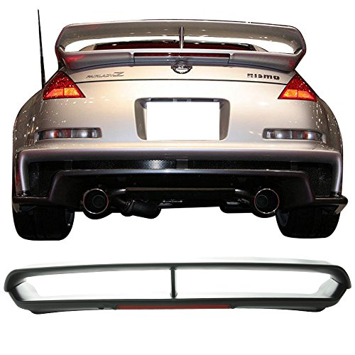 Trunk Spoiler With 3rd LED Brake Light Fits 2003-2008 Nissan 350Z | RS Style Unpainted ABS Car Exterior Trunk Rear Wing Tail Roof Top Lid by IKON MOTORSPORTS | 2004 2005 2006 2007
