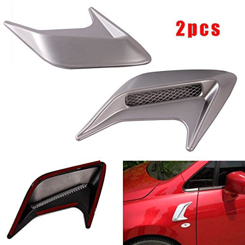 CHAMPLED 2pcs Side Body Marker Fender Air wing Silver Vent Trim Cover Chrome For All The Cars For FORD CHRYSLER CHEVY CHEVROLET DODGE CADILLAC JEEP GMC PONTIAC HUMMER LINCOLN BUICK (Dodge Dakota Hood Scoop)