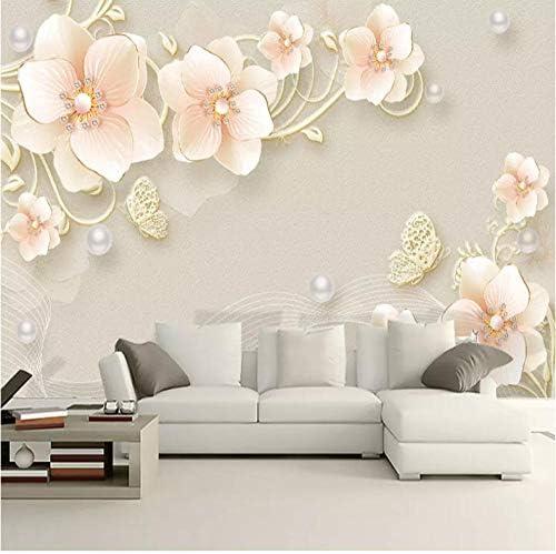 装飾画 カスタム3D壁紙エンボスジュエリーフラワーモダンシンプル壁画リビングルームのソファテレビの背景壁壁画3D B