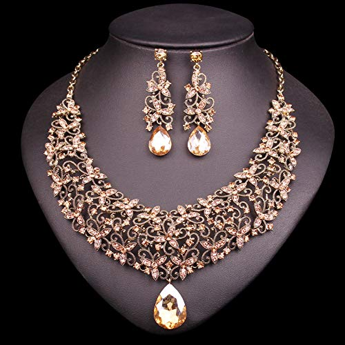 TAFAE Bridal Jewelry Sets - Fashion Crystal Necklace Earring Sets Vintage Bridal Jewelry Sets Rhinestone Party Wedding Prom Costume Accessories Gift Women 1 PCs]()