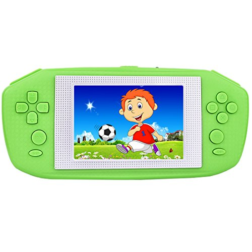"ZHISHAN Portable Handheld Game Console Gaming Player Birthday Gift for Kids Built in 416 Classic Retro Games with 3.5"" LCD Big Screen (Green)"