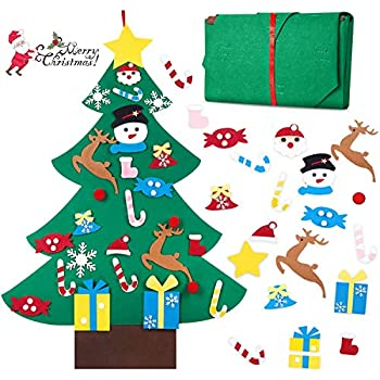 BELANT Felt Christmas Tree, 3ft DIY Christmas Tree with 26 Pcs Ornaments Wall Decor with Hanging Rope for Kids Xmas Gifts Home Door Decoration