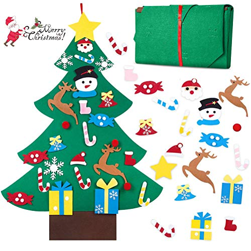 Diy Halloween Decorations For Toddlers (BELANT Felt Christmas Tree, 3ft DIY Christmas Tree with 26 Pcs Ornaments Wall Decor with Hanging Rope for Kids Xmas Gifts Home Door)