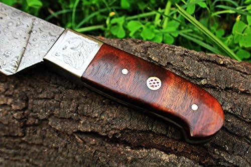 (6 5/18) DKC-198-x ZEN CHEF MASTER Damascus Chef Kitchen Knife Handmade Knife Fixed Blade 12.4 oz 12 Inches Long