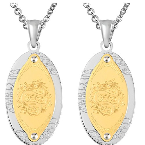 Daesar 2PCS His & His Matching Set Necklace Stainless Steel Dragon Clound Oval Tag With - In Nz Australia Gold Card