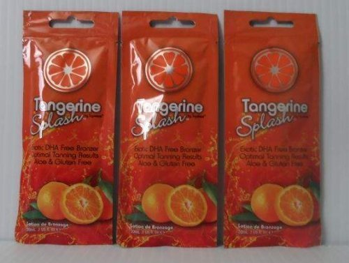 Free Tanning Packet - 3 Packets Tangerine Splash DHA Free Bronzer Tanning Lotion .7 oz. each by Squeeze