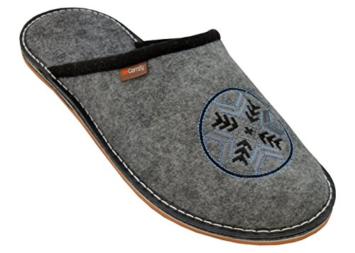 Caja Caseros Zapatillas Goma Hombre Fms10 Casa Fieltro de BeComfy Pantuflas 40 Suela de Fieltro 46 Zapatos Goma Regalo P8wTqRd