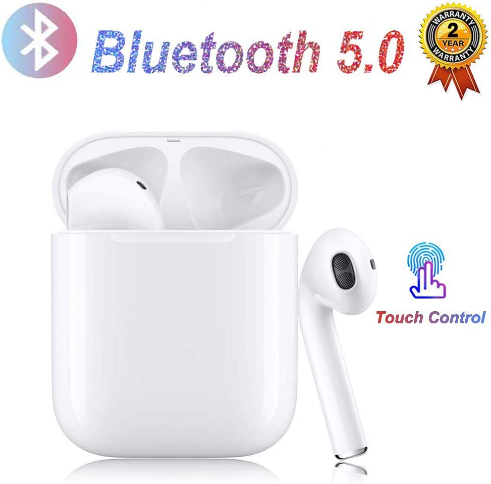DWASFC Bluetooth, Auriculares inalámbricos Bluetooth In-Ear Mini Auriculares Auriculares,emparejamiento automático emergente,Deportivos para Apple/Airpods/Android/iPhone/Samsung