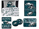 """Northwest NFL Philadelphia Eagles """"Monument"""" Twin Sheet Set with 1 Blanket, 1 Throw, 1 Rug, and 2 Cloud Pillows"""