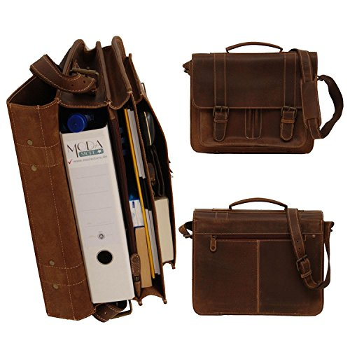 Greenburry Buffalo 1002 Leder Aktentasche Schultertasche Notebooktasche in natur auf Moda-Store de Natur