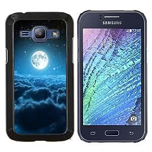 EJOOY---Cubierta de la caja de protección para la piel dura ** Samsung Galaxy J1 J100 ** --Luna Nubes Blue Stars Espacio Universo