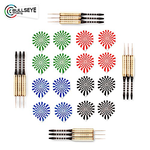 Darts - Pack of 12 Steel Tip 18g By Bullseye Sports - 4 Stylish & Fun Designs (Dartboard Stripe). Aluminum Grip Stems with Extra Flights - Perfect Christmas/Birthday Gift Set For Beginners