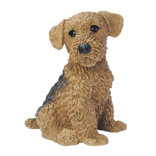 Design Toscano Airedale Puppy Dog Statue, Multicolored - Airedale Puppy Dog