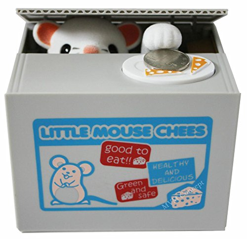 eSmart Chatora Cat Itazura Piggy Bank Automated Cute Cat Paw Hand Monster Stealing Coin Savings Box … (Little Mouse (Mouse Mechanical Bank)