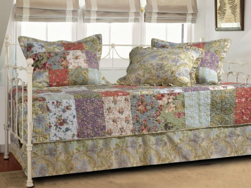 Floral Daybed - Greenland Home Blooming Prairie 5-Piece Quilted Daybed Set