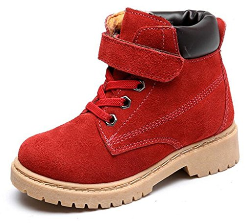 DADAWEN Boy's Girl's Classic Waterproof Leather Outdoor Strap Winter Boots (Toddler/Little Kid/Big Kid) Red US Size 9.5 M Toddler