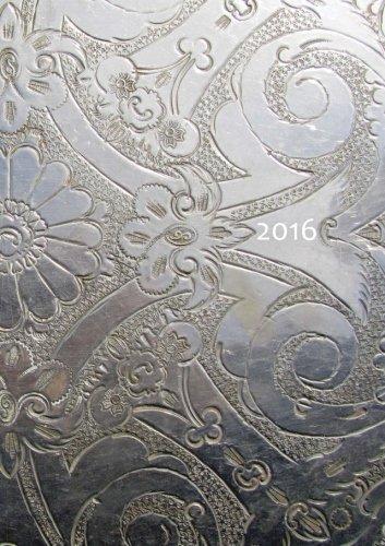 Kalender 2016 - Silver Ornament: DIN A5, 1 Woche auf 2 Seiten, Platz für Adressen und Notizen