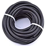 30FT Polypropylene Split Wire Loom Tubing Computer Cable Management Wire Cover Electrical Cord Hider Hose Protector Prevent Chewing Tube ((3/4'' (17mm)))