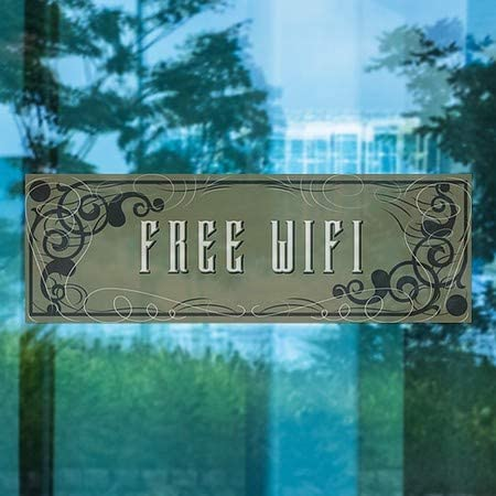 Victorian Gothic Window Cling 5-Pack 36x12 CGSignLab Free WiFi