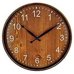 Foxtop Silent Non-Ticking Decorative Wall Clock Vintage Rustic Country Tuscan Style for Living Room Kitchen Home Office (12 inch, Arabic Numeral, Battery Operated)