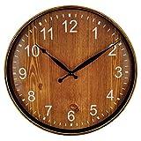 Foxtop 12 inch Silent Non-Ticking Wall Clock Vintage Wood-Grain Plastic Quartz Wall Clock