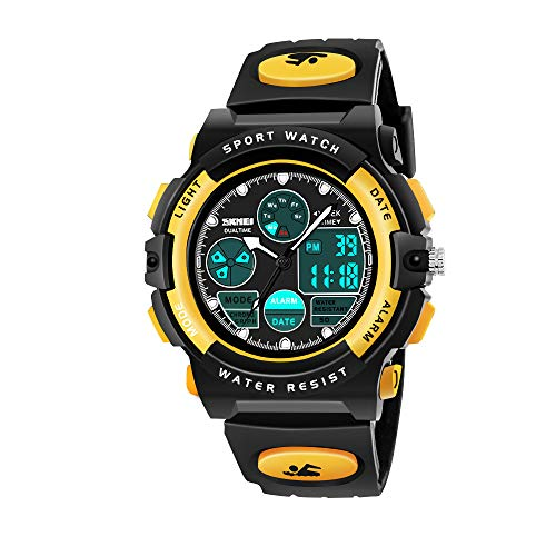 My-My Birthday Presents Gifts Idea for 5-12 Year Old Boys, LED 50M Waterproof Digital Sport Watches for Kids Cool Toys for 5-12 Year Old Boys Gifts Age 5-12 ZHYellow MMUSPW02]()