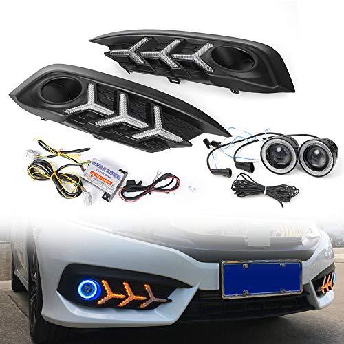 [해외]GZYF 2.5 LED COB Fog Lights Blue Angle Eye Halo Ring Driving Bulbs + DRL Daytime Running Light Lamp Turn Signal CompatibleHonda Civic 2016-2018 / GZYF 2.5 LED COB Fog Lights Blue Angle Eye Halo Ring Driving Bulbs + DRL Daytime Runn...