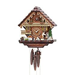 German Cuckoo Clock 1-day-movement Chalet-Style 13.00 inch - Authentic black forest cuckoo clock by Hekas by Kammerer Uhren Hekas