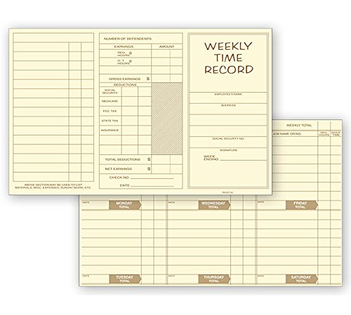 ABC Weekly Preprinted Record Time Cards, Pocket Size, Yellow - 250 Cards -