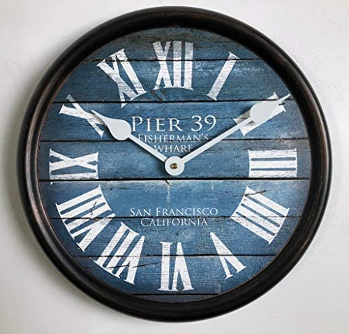Pier 39 Blue Wall Clock, Available in 8 Sizes, Most Sizes Ship 2-3 Days,