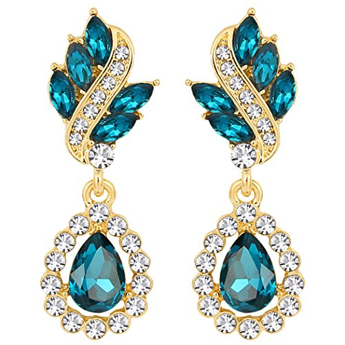 EleQueen Women's Austrian Crystal Art Deco Tear Drop Dangle Earrings Pierced Gold-tone Turquoise Color
