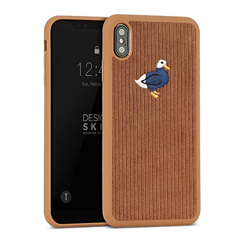 (DesignSkin iPhone Xs MAX Corduroy Embroidered Cloth Covered Case: Thin Fit, Lightweight, Non-Slip Grip Fashion w Character Cover for Apple iPhoneXS MAX - Brown/Duck)