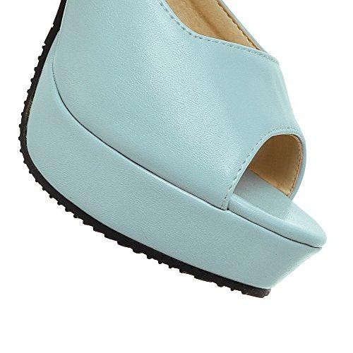 AgooLar Mujeres Tacón ancho Hebilla Puntera Abierta Sólido Sandalia Azul