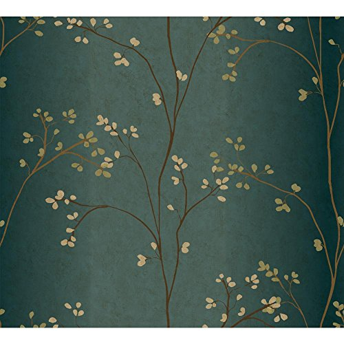 York Wallcoverings BR6224SMP Whisper Prints Vertical Blossoms Wallpaper Memo Sample, 8-Inch x 10-Inch, Teal/Bronze Metallic/Powder Green