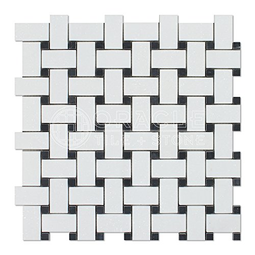 Thassos White Greek Marble Basketweave Mosaic Tile with Black Marble Dots, Polished