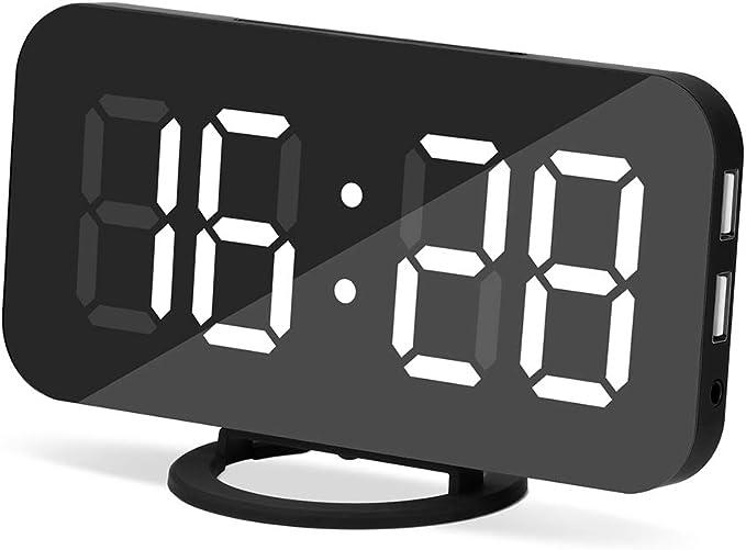 Activation vocale//Non Ticking//Snooze//Temp/érature//Datetime Luminosit/é R/églable pour Enfants Adultes 6,7 LED Miroir Horlogue Digitale R/éveil de Chevet R/éveil Matin Noir JQGo R/éveil Num/érique