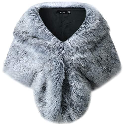 Caracilia Faux Fur Shawl Wrap Stole Cape for Women HUIdiheijian1 S CA95