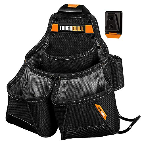 ToughBuilt - Framer Tool Pouch - Multi-Pocket Organizer, Heavy Duty, Deluxe Premium Quality, Durable - 9 Pockets, Hammer Loop (Patented ClipTech Hub & Work Belts) (TB-CT-02) - Multi Deluxe Tool