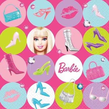 Barbie All Dolled Up Luncheon Napkin, 6-1/2 x 6-1/2 Inches, 16-Count]()