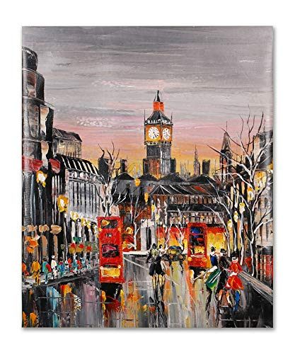 (Art Hub 100% Hand Painted Oil Painting Contemporary Décor Urban Street Clock Tower Canvas Gallery Wrapped Wall Decoration, 24x20)