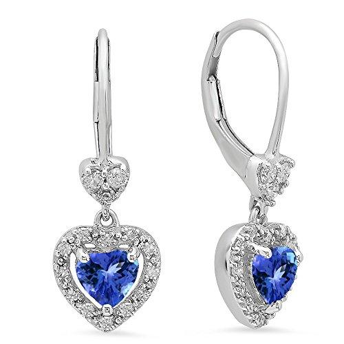 10K White Gold Heart Cut Tanzanite & Round White Diamond Ladies Heart Dangling Drop Earrings