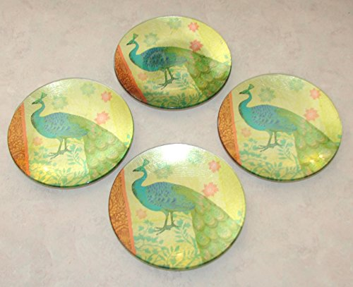 Boxed Set of 4 Pier 1 Imports Round Glass Peacock Appetizer Plates - Pier One Glasses