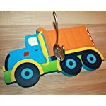 Toad and Lily Bright Dump Truck Boys Clothes Peg Rack Clothing Rack, Hat Holder for Kids Bedroom Baby Nursery WH0003